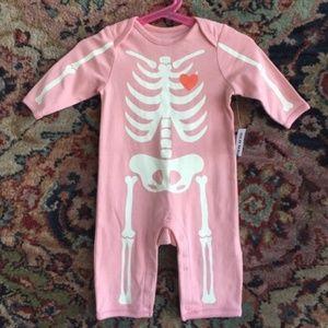 Skelton Heart Bones Baby Onesie Long Sleeve Hallow